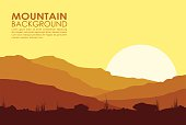Yellow sunset in mountains. Vector illustration of huge mountain range.