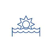 Sunset line concept icon. Sunset flat  vector website sign, outline symbol, illustration.