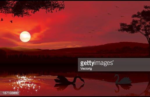 Sunset on a Lake : Vector Art
