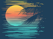 Sunset on tropical beach with palm tree. Sun on evening sea. Vector illustration.
