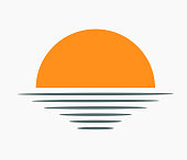 Sunset over sea icon. Vector illustration.