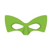 Super hero green mask. Supperhero mask for face character in flat style. Masks of heroic, savior or superhero. Comic super hero mask vector illustration. Super hero photo props. Super hero face