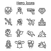 Super Hero icon set in thin line style