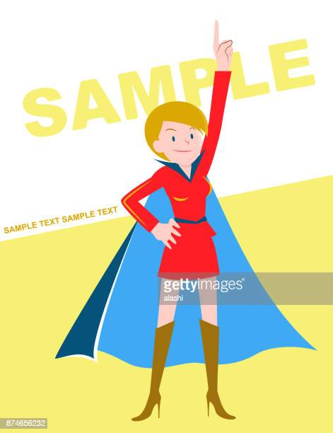 Super heroines (Caucasian ethnicity with blond short hair) pointing upward and standing with hand on hip