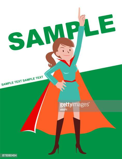 Super heroines (young woman with brown hair ponytail) pointing upward and standing with hand on hip