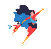 Super Mom. Flying superhero mother carrying a baby. Vector illustration template