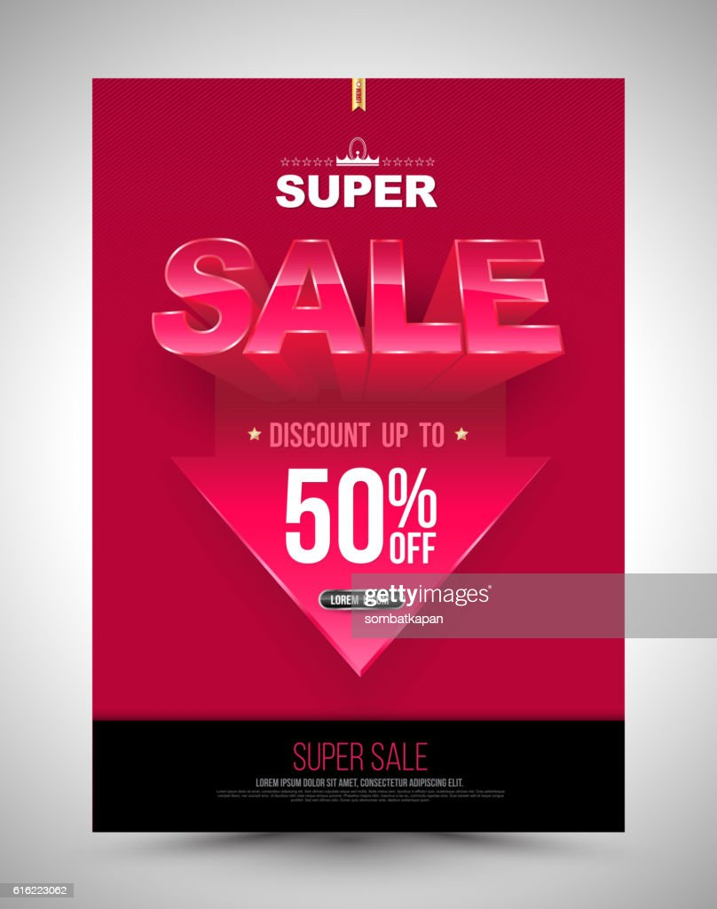 Super sale poster discount up to 50 percent with arrow. : Vector Art