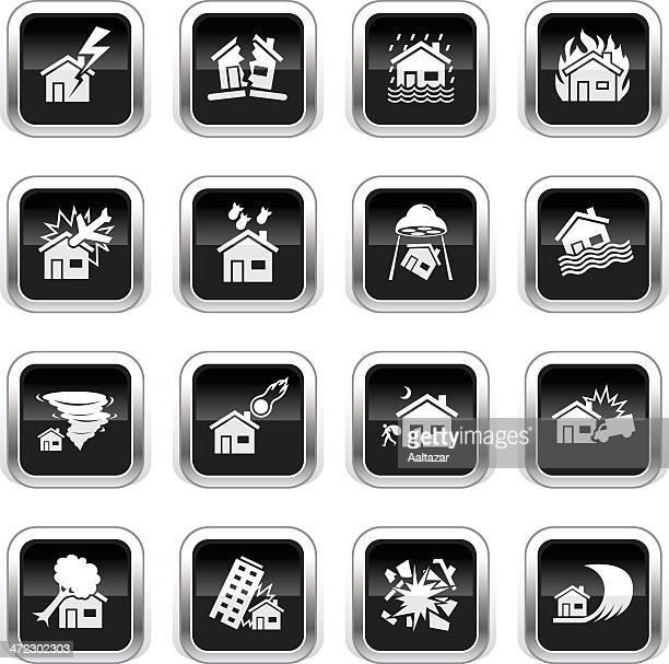 Supergloss negro iconos de casa catástrofe