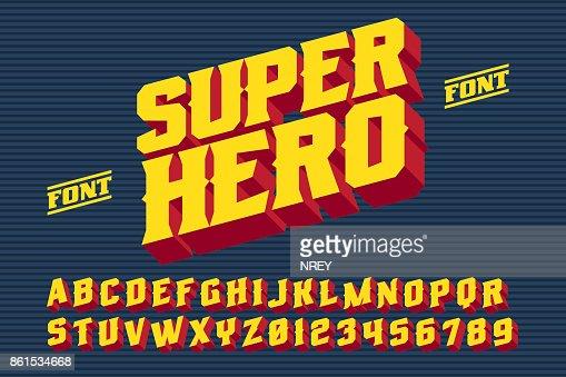 スーパー ヒーロー 3D ビンテージ文字 : ベクトルアート