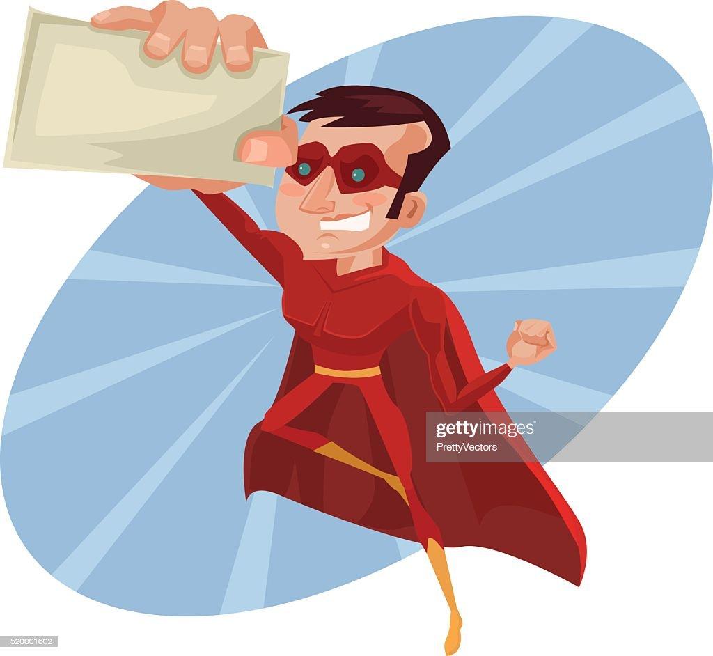 Superhero Business Card Vector Flat Cartoon Illustration Vector Art ...