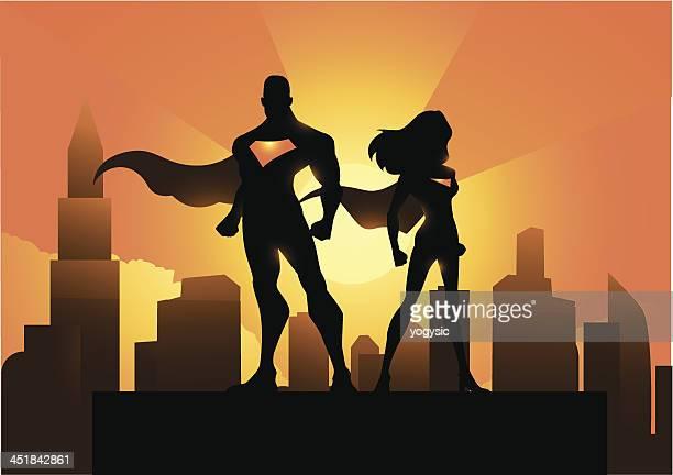 Superhero couple in the city