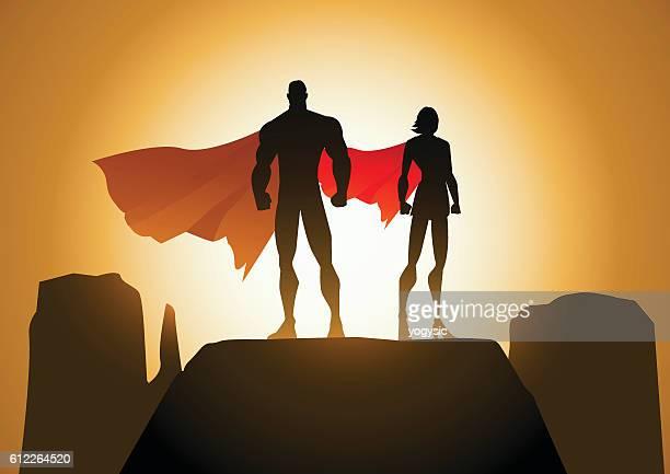 Superhero Couple Silhouette Vector