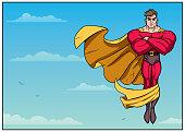 Illustration of superhero floating in the sky.