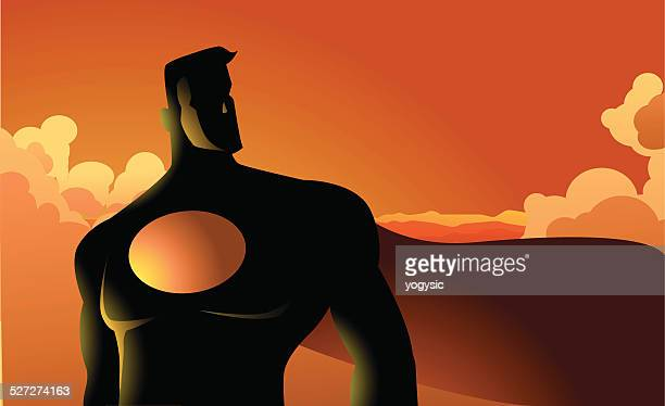 Superhero in the cloud silhouette