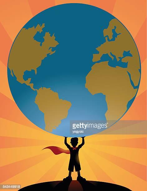 Superheld Kind heben eine Welt Globus