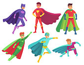 Superhero man characters. Cartoon muscular hero character in colorful super costume with waving cloak pose action toy figure brave handsome man. Flying superheroes power ranger vector isolated set