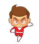 Clipart picture of a superhero cartoon character running