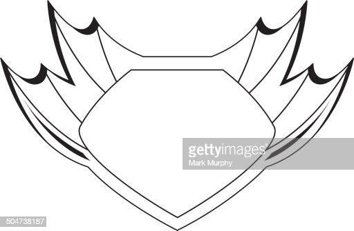 superhero shield outline vector art