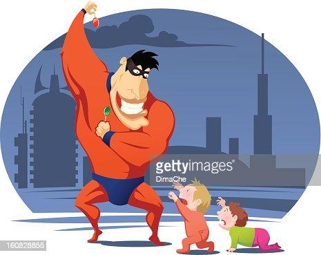 Superhero with candy : Vektorgrafik