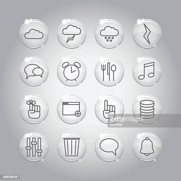 Superlight Transparent Glass Interface Icon Set
