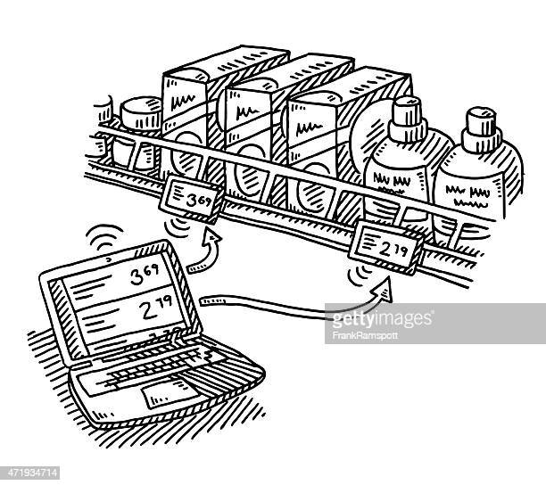 Supermarket Electronic Shelf Label Technology Drawing