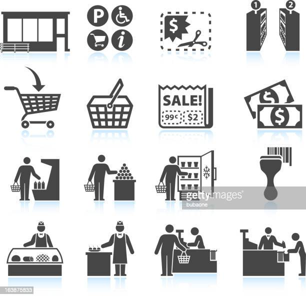 Supermarket Experience and grocery Shopping royalty free vector icon set