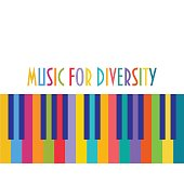 Support cultural, racial and ethnic diversity concept vector illustration. Multiethnic, multiracial and multicultural unity or partnership metaphor. Colorful Piano Keys and text: Music for Diversity.