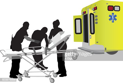 Hospital Gurney Silhouette Stock Illustrations And ...