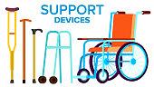 Support Items Vector. Walk Stick, Wheelchair. Isolated Cartoon Illustration