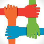 each hand hold each other to support vector
