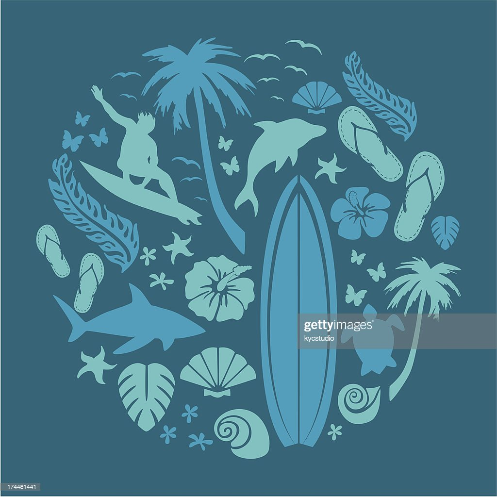 Surf and Ocean Composition : Vector Art