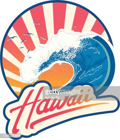 Surf emblem Hawaii : Vector Art