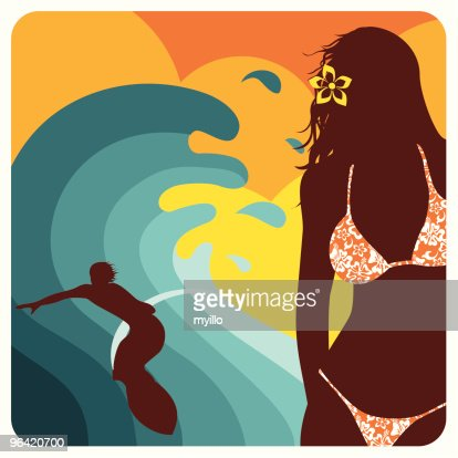 Surf love. Sexy girl and surfer guy. Couple, illustration, : Vector Art