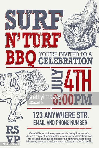 Turf N Surf >> Surf N Turf Bbq Invitation Design Template Vector Art | Getty Images