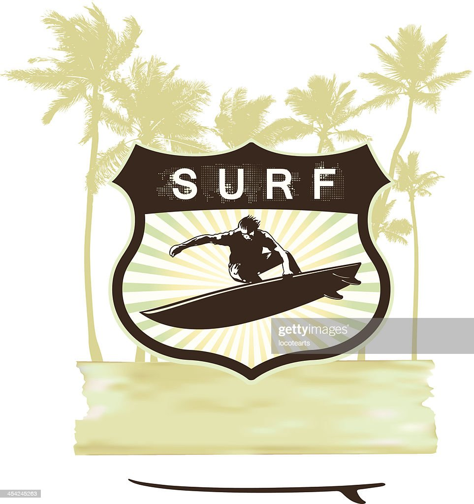 surf shield with summer grunge background : Vector Art