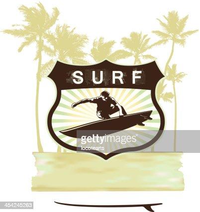 surf shield with summer grunge background : Vector Art