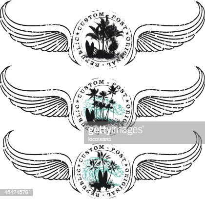 surf shield with table stamp mark wave and wings : Vector Art