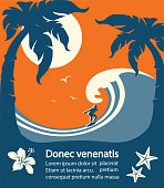 Surfer and big sea wave tropical island.Vector poster background for text