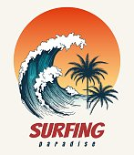 Surfer big wave. Ocean wave surfing hawaii or california paradise vector retro poster