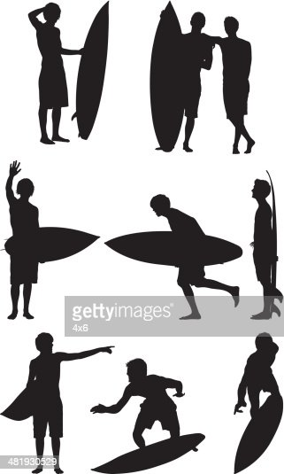Surfer silhouettes : Vector Art