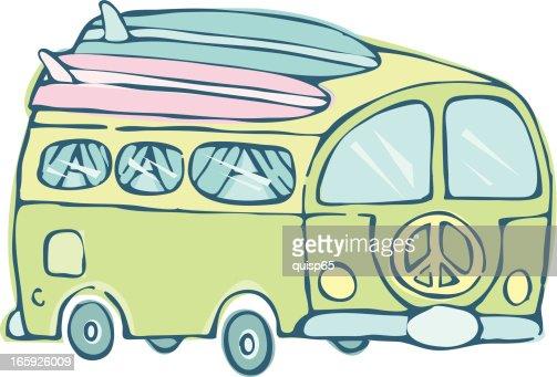 Surfer Van : Vector Art