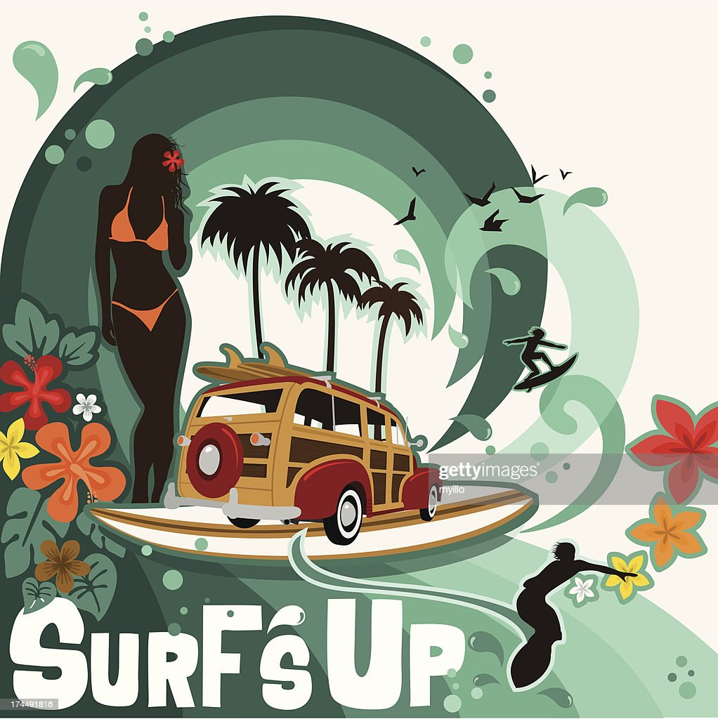 Surfers and waves : Vector Art