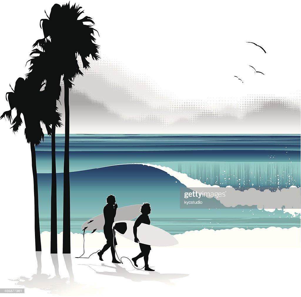 Surfers walking in a tropical beach : Vector Art