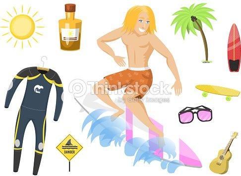 Surfing active water sport surfer summer time beach activities man windsurfing jet water wakeboarding kitesurfing vector illustration