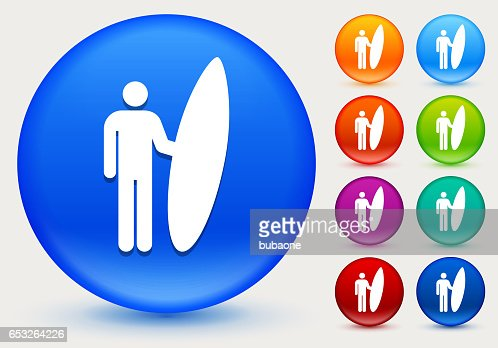Surfing Icon on Shiny Color Circle Buttons : Vector Art