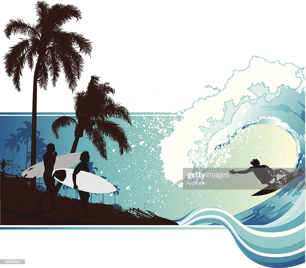 Surfing landscape : Vector Art