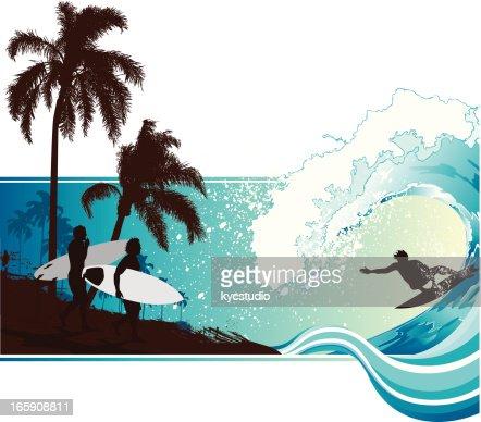 Surfing landscape : Vector Art