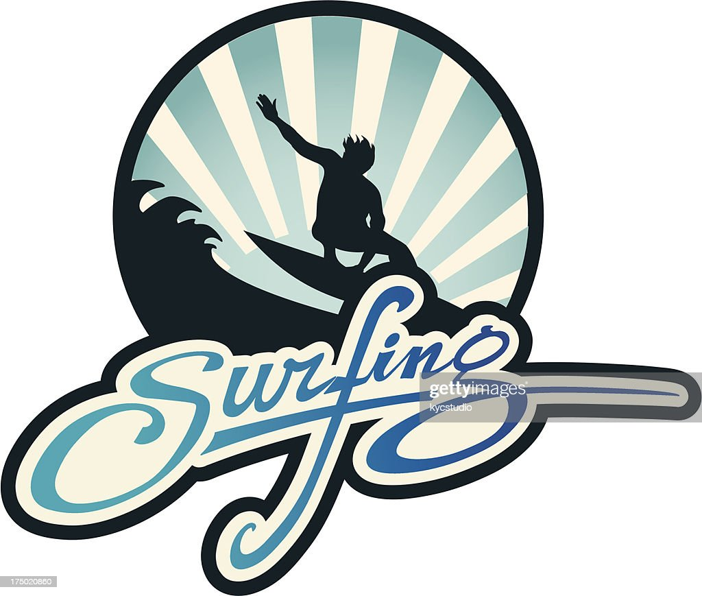Surfing lifestyle emblem : Vector Art