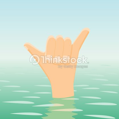 Surfing shaka hand sign