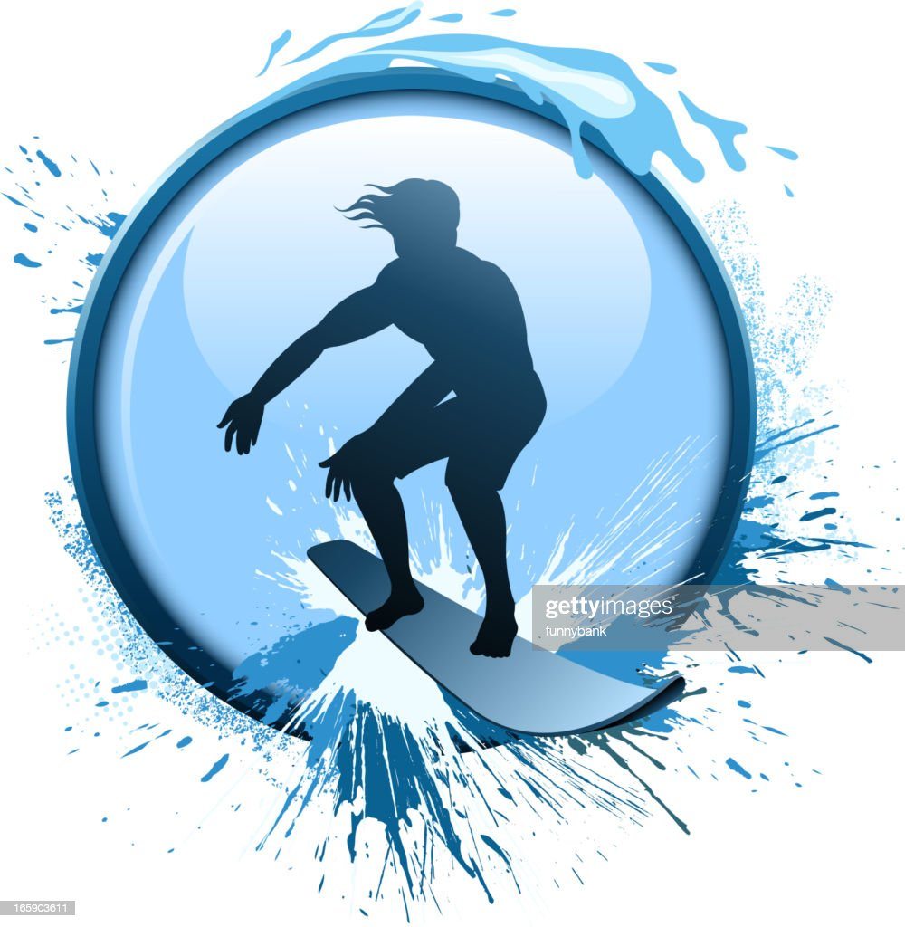 surfing silhouette : Vector Art